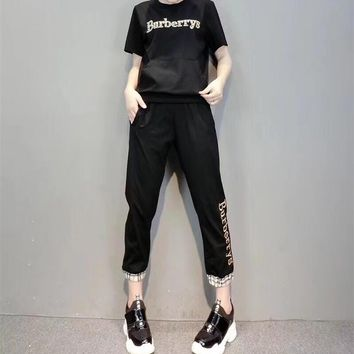 """Burberry"" Women Casual Fashion Letter Embroidery Short Sleeve Multicolor Trousers Set Two-Piece Sportswear"