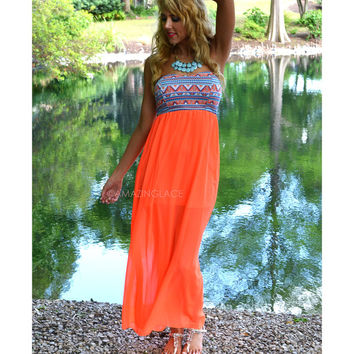 Carson City Neon Coral Aztec Printed Maxi Dress