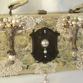 Vintage purse couture purse beaded silver by HopscotchCouture