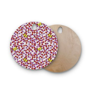 """Setsu Egawa """"Cherry Blossom And Butterfly"""" Red Pink Round Wooden Cutting Board"""