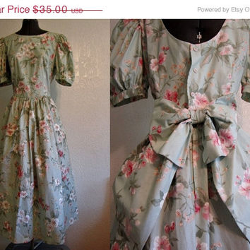 VIntage 80s Dress Southern Belle Mint Floral by SissysVintage