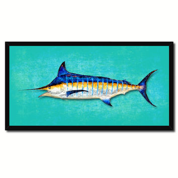 Blue Marlin Fish Art Aqua Canvas Print Picture Frames Home Decor Nautical Fisherman Gifts