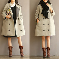 Light gray wool coat - double-breasted wool coat - female autumn and winter cashmere coat - winter jacket loose B397