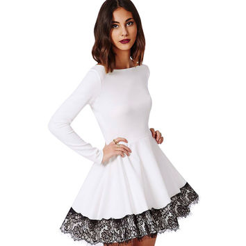 Sexy Women Lace Color Matching Off Shoulder Long Sleeve Dress Autum Winter Beautiful Christmas Party Dress 1STL