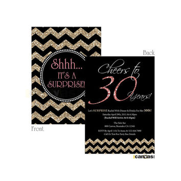 30th 40th 50th 60th 70th 80th birthday Invitation. Cheers to 30 years! (or any age) Chalkboard Coral Golden Glitter Chevron Birthday # 141