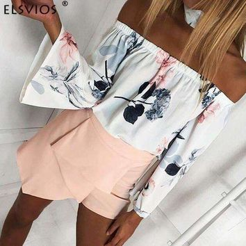 DCCKON3 ELSVIOS Summer Floral Print Chiffon Blouses 2018 Women Slash Neck Flare Sleeve Spring Tops Sexy Off Shoulder Casual Shirts Blusa