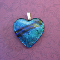Heart Pendant, Dichroic Blue and Green Heart, Fused Glass Jewelry - Loved One - 4465 -1