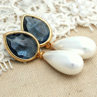 Blue Montana Pearls Rhinestones and gold earrings - 14K Gold  plated earrings with white Majorica perfect pearl.