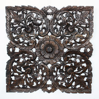 Black Carved Inlay Square Lotus Panel (Thailand) | Overstock.com