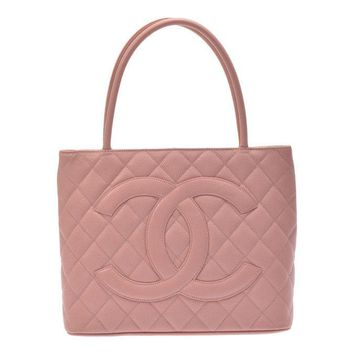 Authentic Chanel Women's Caviar Leather Tote Bag Pink 800000067126000