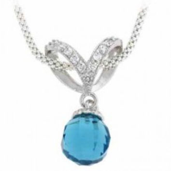 Sterling Silver Simulated Diamond CZ Briolette Simulated Aquamarine CZ Ball Drop Pendant ~ Bridesmaid Gift