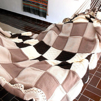 luxury chunky blanket, knitted afghan in pure Merino wool, cottage chic blanket, knit throw, single bed cover, made to order