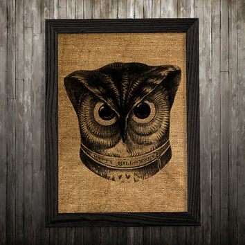 Bird print Burlap art Owl poster Animal print BLP236