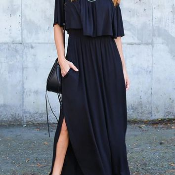 Black Cut Out Draped Pockets Backless Side Slit Ruffle Fashion Maxi Dress