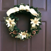 Christmas Wreath Floral for Front Door or Wall Holiday Mantle
