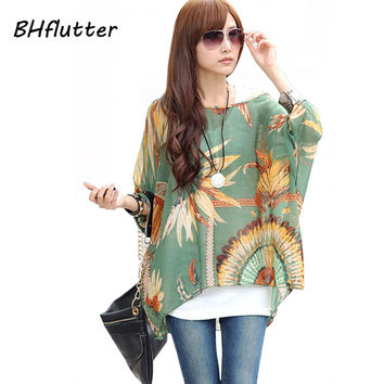 Women's Chiffon Tops 2017 New Fashion Summer Shirt Boho Style Batwing Casual Blouses Blusas 4XL 5XL 6XL Plus Size Women Clothing
