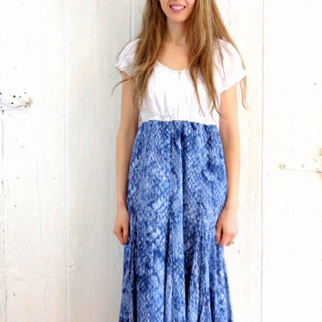 Peasant Dress , Gypsy Dress , upcycled clothing , womens size large , refashioned blue and white dress  eco repurposed one of a kind clothes