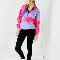 80s NIKE jacket color block pink purple WINDBREAKER half zip pullover athleisure MEDIUM med m