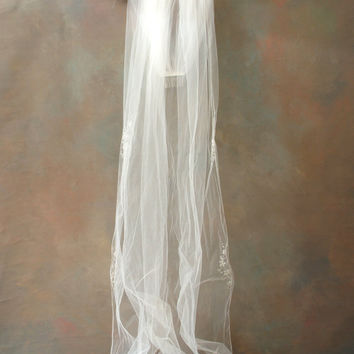 Long Vintage Bridal Veil with a Splash of Embroidery and Beads