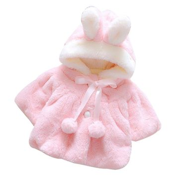 Baby Girl's Fall/Winter Pink Fleece Bunny Jacket w/Hood