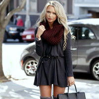 Long Sleeve Winter Women's Fashion Hot Sale V-neck Sexy One Piece Dress [9560987023]