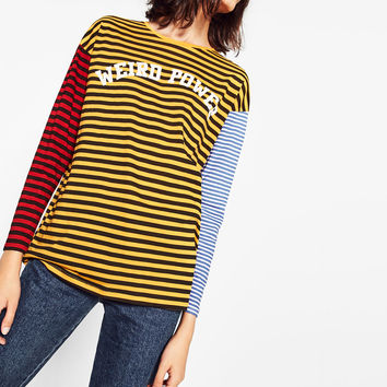 MULTICOLOURED STRIPED TOP DETAILS