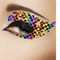1 Pair of Temporary Tattoo for Eyes Eyelids Rainbow Color 01 Pop for Clubbing Party Prom Festival