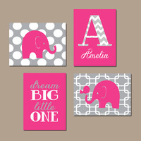 ELEPHANT Wall Art Nursery Canvas Artwork Girl Child Hot Pink Gray Chevron Monogram Name Bird Polka Dot Dream Big Little One Set of 4 Prints