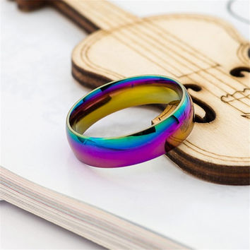 Rainbow Titanium Steel Wedding Band