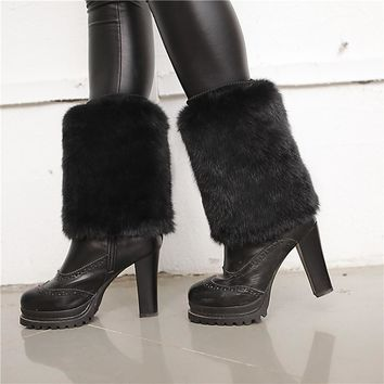 New Women Autumn Winter Faux Fur Rabbit Hair Tip Ankle Sock Rabbit Socks Fashion Hot Sale Rabbit Set Foot Fox Fur Boot Covers