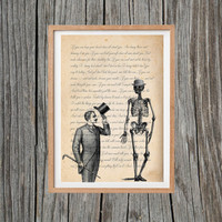Vintage Skeleton Print Poem Poster Print Antique Wall Art