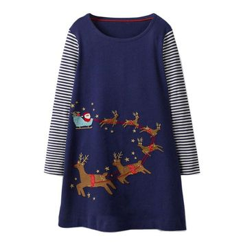 Jumping meters Baby dresses girls clothing Gifts for Christmas deers fashion new 2018 brand kids dresses long sleeve girls dress