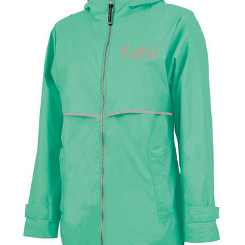 Mint Green Monogrammed Personalized New Englander Rain Jacket by Charles River Apparel