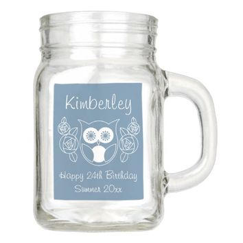 Cute Retro Owl and Roses Personalized Mason Jar