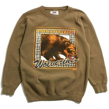 University of Michigan Wolverine Stamp Team Edition Crewneck Sweatshirt Olive (Medium)