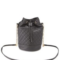 Black Quilted Chain Strap Bucket Bag by Charlotte Russe