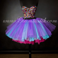 Size small pink turquoise and purple rhinestone Corset Prom dress with tulle skiritng Ready To Ship