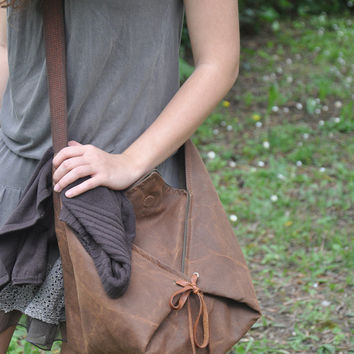 Hobo, across body bag in stonewashed canvas with leather details,Harlequin in copper brownMADE TO ORDER
