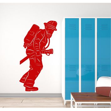 Vinyl Wall Decal Fire Dept Fireman Hero Firefighter Firefighting Stickers (3191ig)