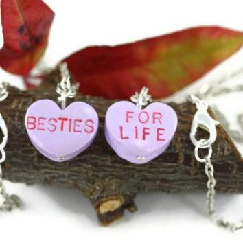 Valentine Candy Heart Necklaces, Heart Pendant, Conversation Heart, Besties For Life,
