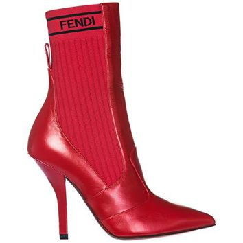 Fendi Women's Leather Heel Ankle Boots Booties red