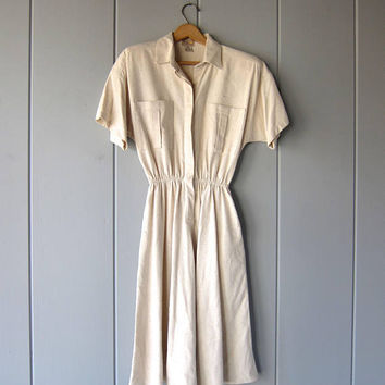 Vintage Silk Dress Safari Dress 70s Vintage Dress Boho Raw Silk Cream White Dress Minimal Dress with Pockets Boho Midi Dress Womens Medium