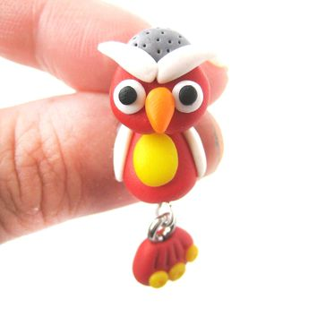 Handmade Owl Bird Fake Gauge Two Part Polymer Clay Stud Earring in Red