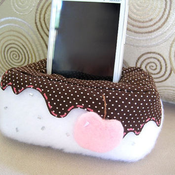Plush Cell Phone, iPhone Holder Pouch Stand - Ice Cream with Cherry