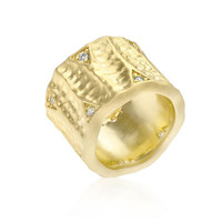 Textured Organic Matte Golden Eternity Ring, size : 09