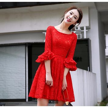 2017 new arrival red lace short a line 3/4 sleeve bridesmaid dress petite knee length cheap modest bridesmaid gowns