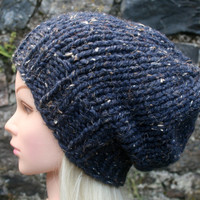 Hand Knit Hat- Women's Hat- Dark denim tweed- Rustic Mega chunky hat with wool- slouchy- Beanie