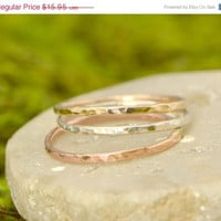 Fathers Day Sale Thin Stacker Ring - Gold Ring - Silver Jewelry - Stacking Rings - Rose Gold Color - Yellow Gold - Silver Ring