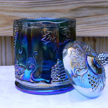 Vintage Blue Carnival Glass Bisquit Canister by BrisNanaJoy