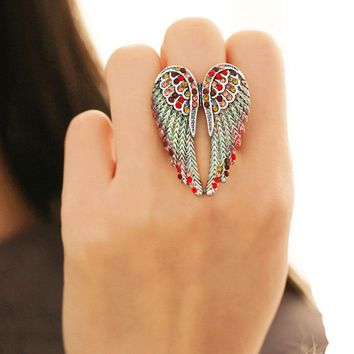 Angel wings Fashion Flower Shiny Red Romantic wedding Ring Red Garnet Women Charming Engagement Jewelry Black Gold Fillede Rings